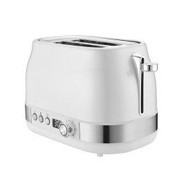 Tostapane in acciaio inox a 2 strati per la colazione in cucina con orologio DISPLAY A LED CE/GS/ETL/CB (YK-688E BIANCO)