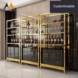 يعيش غرفة حديثة رفاهية عرض حامل قفص ذهبيّة يليّن خمر خزانة