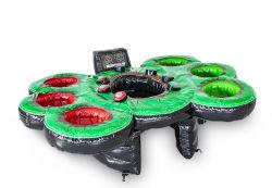 4 in 1 aufblasbarem Gericht, aufblasbares Flusspferd-Chow-unten Spiel/aufblasbare IPS-Arena/aufblasbarer Prahler mit Basketball-Band für Kinder
