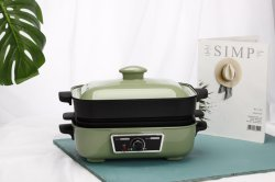 Parrilla eléctrica multifunción Cocina no Stick Coating caliente Olla con plato de muffin de la sartén