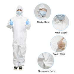 SMS mono desechable ropa de seguridad EPI quirúrgica general de protección química traje Hazmat de prendas de vestir para salas limpias