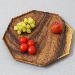 لوح فواكه صينية الشاي مصنوع يدويًا من الخشب الصلب سداسي الشكل ومثبت على هيئة صفيحة الجوز الأسود ذات ثمانية أضلاع