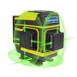 Nível laser verde Laser de feixe de cruzamento 12 Linha de nivelamento automático 3D Auto Construção Rotativa Nivel nível a laser