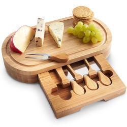 Plateau de fromage et de la Coutellerie Set (haut de la qualité de l'emballage élégant) unique de la charcuterie de bambou plateau et sert de bac pour le vin, pirate,
