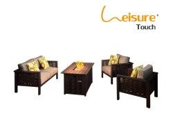 Im Freien Patio-Tisch-moderne Heizungs-Rattan-Feuer-Vertiefung-Garten-Aluminiummöbel
