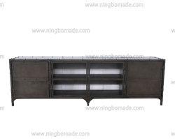 Mensola di legno industriale del ghisa grigio della pistola della mobilia di stile dell'annata all'interno del basamento dello strumento TV di industria