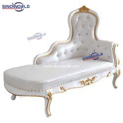 Оптовые партии мебель Роскошь золота событий серебристый белый свадебный трон диван