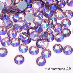 Het lichte Violetkleurige Ab Flatback Bergkristal Hotfix van het Kristal voor Kledingstuk en de Decoratie van Spijkers
