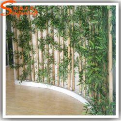 Bambú artificial esgrima hojas de bambú Fake Lucky Bamboo Bonsai Tree para decoración