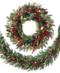 Simulação de alta classe PE grinaldas de Natal com cones de Pinho Porta de frutos vermelhos e travando coroa de ornamentos de vime grinaldas de Natal