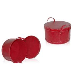 Цилиндр домашних хозяйств за круглым столом из натуральной кожи корзина для хранения в салоне (2208)