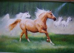 Peinture d'huile d'un exécutant Horse