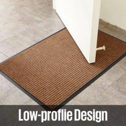 Côtes doubles tapis rayé entrée Tapis de sol PVC porte en polyester mat