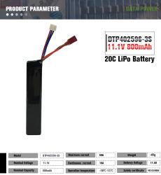 11.1V 12V Sammlerzellen 20c der hohen Kinetik-800mAh Lipo für Spielwaren