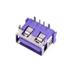 보라색 A형 USB 커넥터 5 암페어 전류 USB 2.0 Type - PCB용 암 커넥터 잭