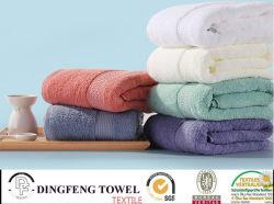 2016 Vendas quente 100% algodão orgânico de espessura mecanismos Jacquard Toalha de banho com fronteira acetinado DF-S289