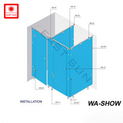 강화 유리 벽 패널 파티션 화장실 비클 액세서리(WS-SHOW)