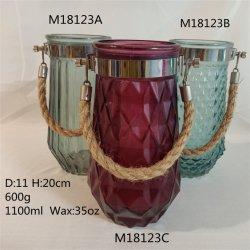 35oz de haute qualité en verre coloré gaufré Jar ou Bougie en verre avec poignée de porte-corde