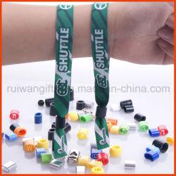 Tecidos de malha de poliéster bracelete ajustável com logotipo bordado (PBR023)