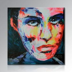 写真からの手塗りの現代キャンバスのポップアートの概要の肖像画の油絵