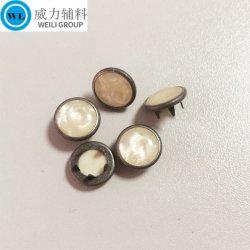 金属の真珠ボタン、マルチカラー、光沢がある石造りの表面熊手のスナップボタン