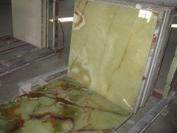 Zusammengesetzter Marmor mit Glas, lamellierte Fliese, grüner Onyx