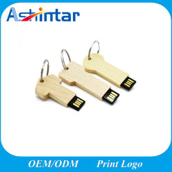 나무로 되는 USB 저속한 드라이브 키 모양 USB 기억 장치 지팡이 소형 USB 플래시 디스크