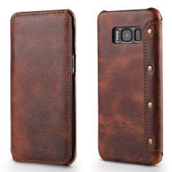 الشركة المصنعة السعر جيد الجودة خمر الجلد البني حقائب الهاتف المحمول لـ Samsung S8 Plus