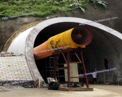 Tunnel conduit d'air de ventilation minière et le ventilateur