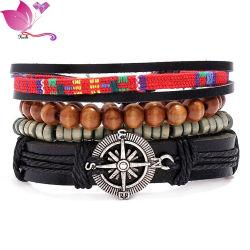 Bracciale Vintage in tessuto combinazione con perle di legno fai da te in pelle