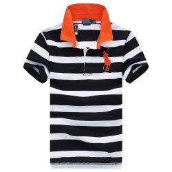 Sommer-Polo-weißes breites gestreiftes Polo-Team und Hemd-Polo-T-Shirts seiner Emblem gestickten beiläufigen Männer