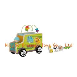Bosque Alquiler de coches Coches de transporte de animales del zoo de Inserción y extracción de madera Juguetes Juguetes para niños tirar a lo largo de alquiler de carretilla para la educación cognitiva preescolar