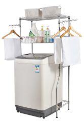 Plank de van uitstekende kwaliteit van het Rek van de Opslag van de Wasmachine van de Badkamers van de Draad van het Metaal van het Chroom van 4 Rijen met Mand