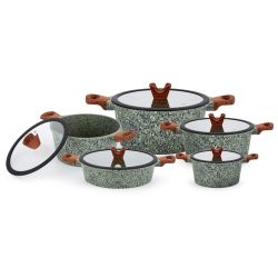 Qualität, die Hilfsmittel-Aluminiumpotentiometergesetzter Non-Stick Cookware-gesetzte Bratpfanne + Suppe-Potenziometer + Milchpotentiometer-+ Wok-Kombinations-Set kocht