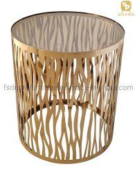 مصباح مائدة مستديرة ذهبي مخصص من الزجاج الواضح بالليزر صغير الجدول