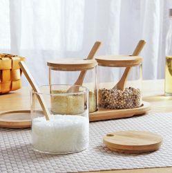 유리 음식 저장용 용기 3개 세트, 유리 스파이스 용기, 대나무 덮개, 라벨 및 대나무 스푼