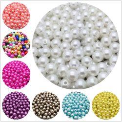 공장 도매 느슨한 구슬 아BS Handmade를 위한 구멍을%s 가진 플라스틱 둥근 진주 구슬을 꿰매는 많은 색깔 DIY