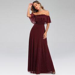 Tulle-Funkeln-lange Abend-Cocktail-Kleider V-Stutzen der Frauen doppeltes