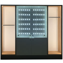 CY030-fabrica China de moderno diseño personalizado de madera de bastidor de metal supermercado Expositor Estante con luz LED