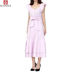 [روفّل] لباس [شورت-سليفد] طويل حلوة أماميّ أزرار إنحناء حزب ثوب