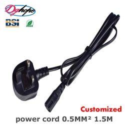 UK 2 bouchon C7 250V 3un cordon d'alimentation avec cordon d'extension de Certification BS Câble d'alimentation 1,5 m à 3 fils