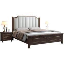 2011 새로운 스타일의 솔리드 우드 침대 현대적인 미니멀리스트 소프트 더블 침대
