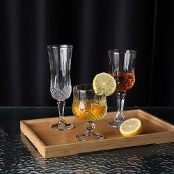Beber água copos 7oz vintage claro transparente de vidro longa chávena de chá com caule Gravado