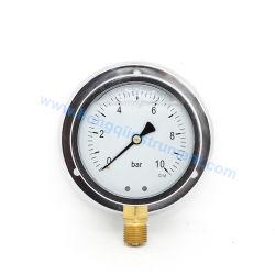 100mm Enchimento de glicerina Manómetro 0-10bar Manómetro Back Panel Mount instrumento de pressão