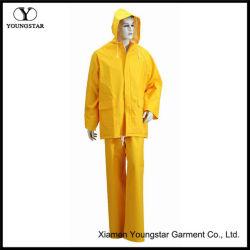 Lluvia de PVC impermeable amarillo impermeables chaquetas de traje de lluvia para hombres, mujeres