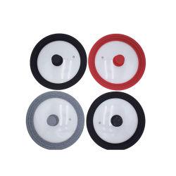 Pot de couleur au format personnalisé Couvercle en verre en stock Couvercle en verre avec anneau en silicone