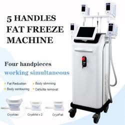 El mejor cuerpo Cryolipolysis máquina de adelgazamiento 5 maneja la lipólisis en frío el dispositivo de extracción de grasa