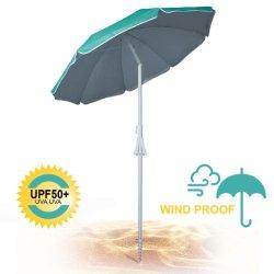 مظلة شاطئ ذات عمود فولاذي مطلي باللون الأبيض، بالإضافة إلى شاطئ باراسول مزود بحقيبة حمل