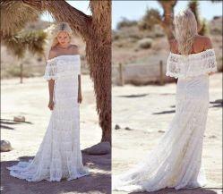 レースの国のBohoのウェディングドレスのボヘミアの花嫁衣装Wdo93