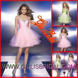 2012枚の新しい折目のホールター器官の帰郷の服のセクシーな夜会服は層にしたビーズのミニスカートの服(Gillis1002)を